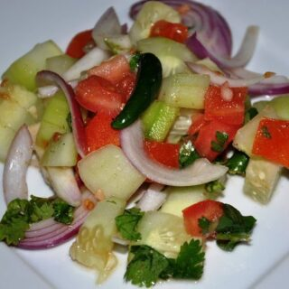 A Basic Indian Salad… Tamatar Piyaz Aur Kheera Salad (Tomato, Onion, & Cucumber Salad with Chat Masala)