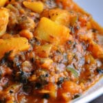 Aloo Shimla Mirch Aur Tamatar Ki Subzi (Potatoes & Green Pepper cooked in a Tomato Fenugreek Gravy, Vegan)