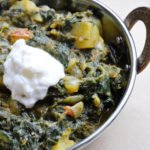 Dhaniya Aloo Palak (Potatoes and Spinach cooked in a Cilantro Paste)