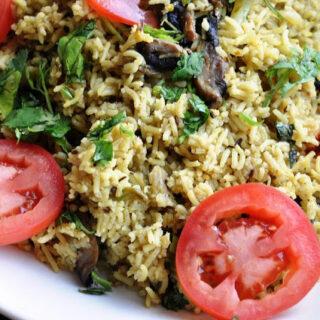 Mushroom Matar Pulao (Mushroom & Peas Rice Pilaf)