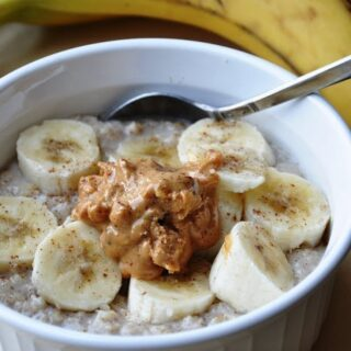 Banana & Peanut Butter Oatmeal with Maple Syrup… now that's a BREAKFAST!