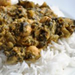 Chana Saag (Chickpeas and Spinach cooked in a Yogurt Gravy)