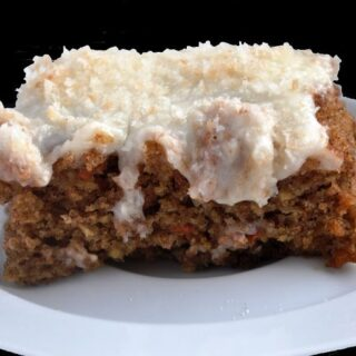Award Winning Carrot Cake with Toasted Coconut Cream Cheese Frosting (252 Calories)