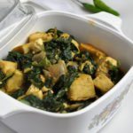Tofu Palak (Tofu and Sauteed Spinach)