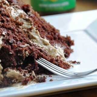 Eggless Chocolate Cake with Espresso Buttercream Frosting