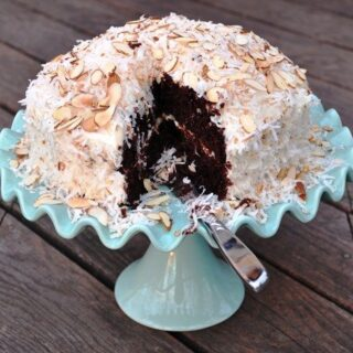 Sour Cream Chocolate Cake with Almond Buttercream and Toasted Coconut