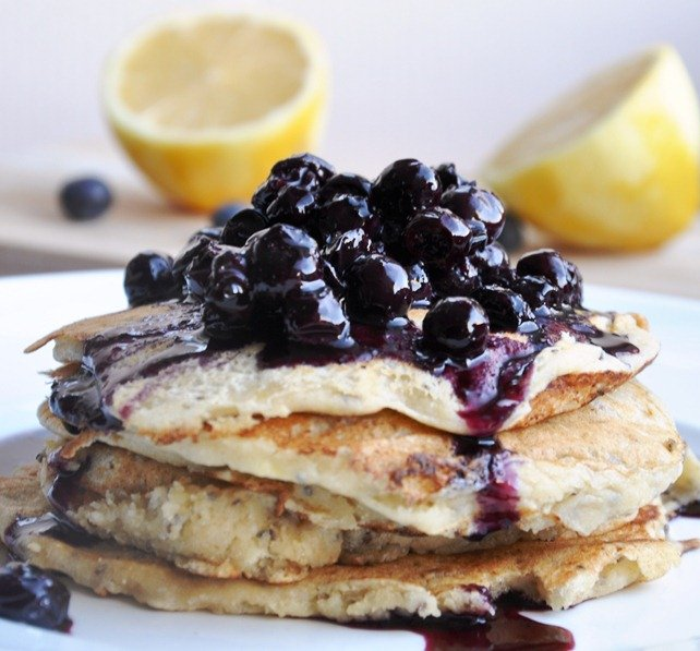 Whole Wheat Lemon Ricotta Pancakes with Blueberry Topping - Honey ...