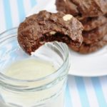 Chocolate Brownie Cookies with White Chocolate Roasted Macadamia Nuts (130 calories)