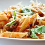 Roasted Red Pepper Penne with Mushrooms