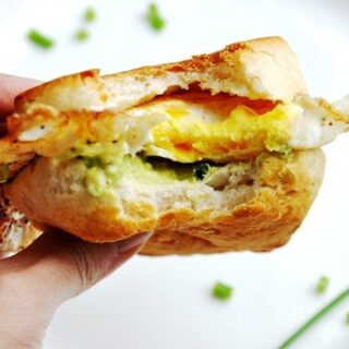 Avocado Fried Egg Biscuit Sandwich