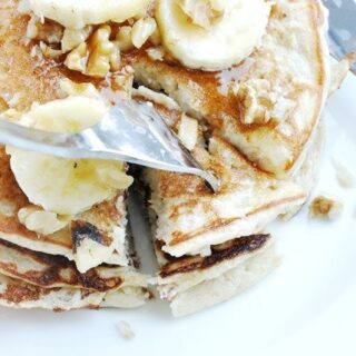 Banana Bread Protein Pancakes + Warm Butter Maple Syrup