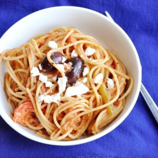 Greek Spaghetti… Greek Goodness in a bowl.