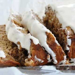 Spiced Rum Banana Nut Bread with Coconut Rum Cream Cheese Glaze (lightened up, 100% whole wheat)