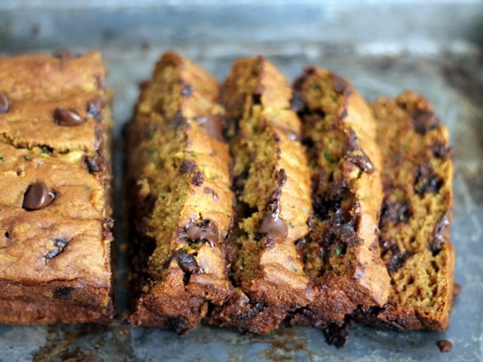Pumpkin Zucchini Chocolate Chip Bread