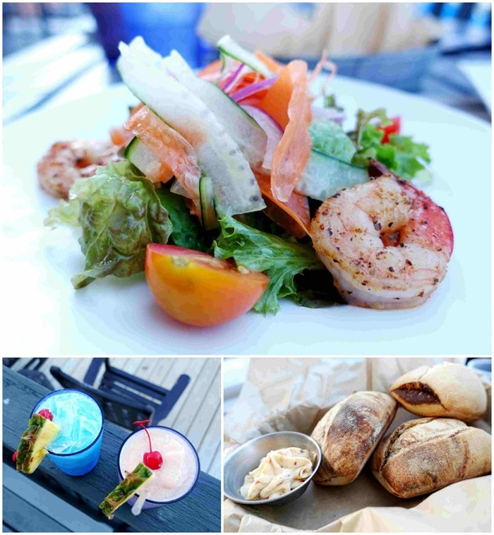 Blue Lagoon, Guava Colada, Shrimp Salad - Cocktails & Appetizer - Sails, Ritz Carlton St. Thomas