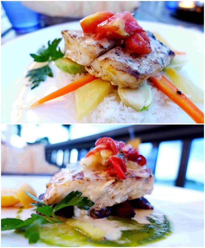 Pan-Seared Grouper, Pan-Seared Snapper - Entrees - Sails, Ritz Carlton St. Thomas