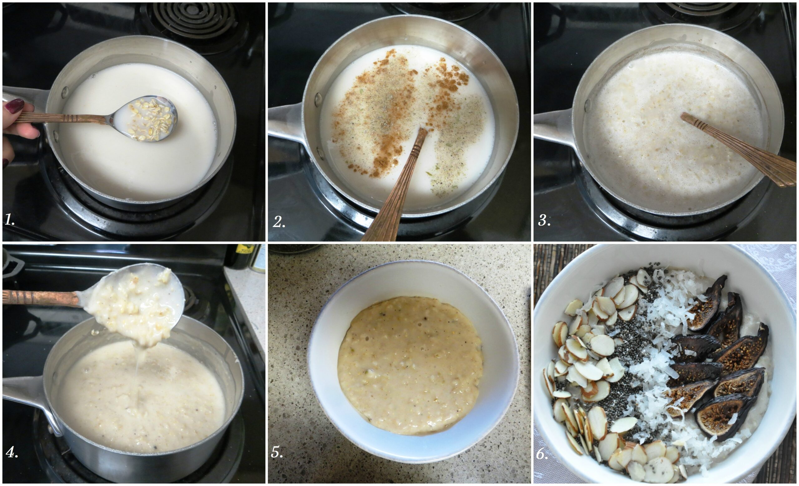 Fig Almond & Cardamom Oatmeal step by step pictures