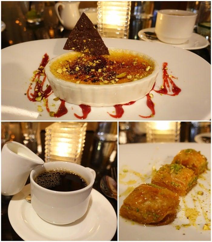 Coffee, Pistachio Creme Brulee, Baklava - Pera Soho NYC