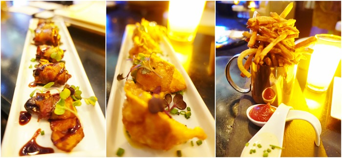 Smoked Bacon, Shrimp Potstickers, Pomme Frites - Monarch Rooftop Lounge NYC