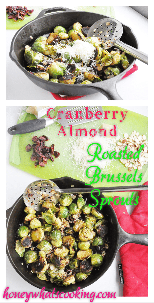 Cranberry Almond Roasted Brussels Sprouts Pin