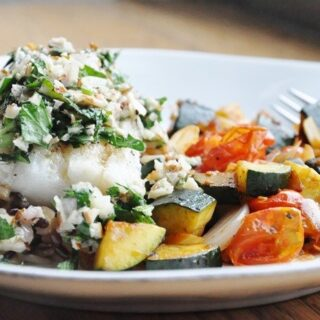 Argentinian-Style Cod with Almond Herb Chimichurri (healthy, dairy free)