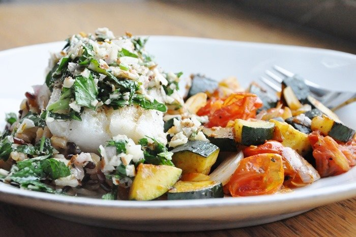 Argentinian-Style Cod with Almond Herb Chimichurri