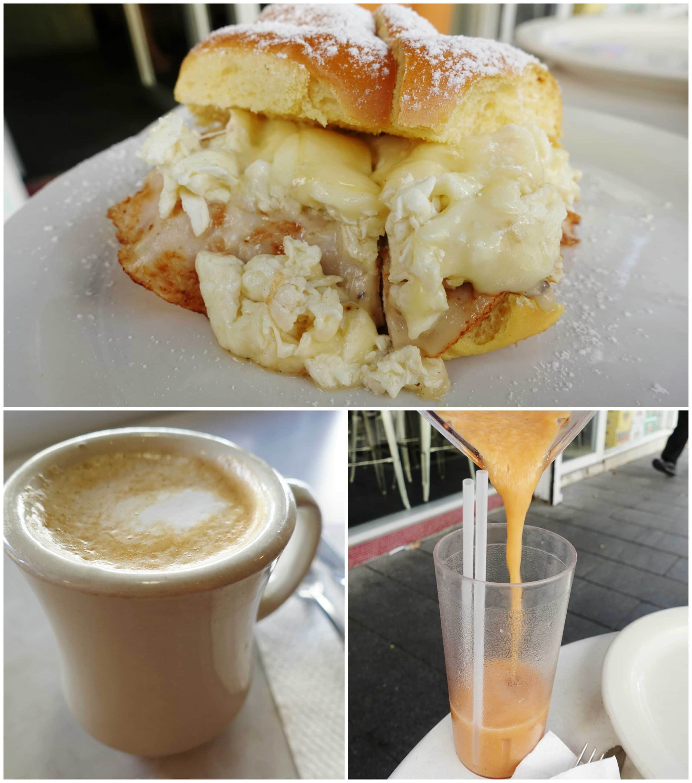Mallorca Breakfast Sandwich, Banana Papaya Smoothie - Pinky's - Condado, San Juan, Puerto Rico