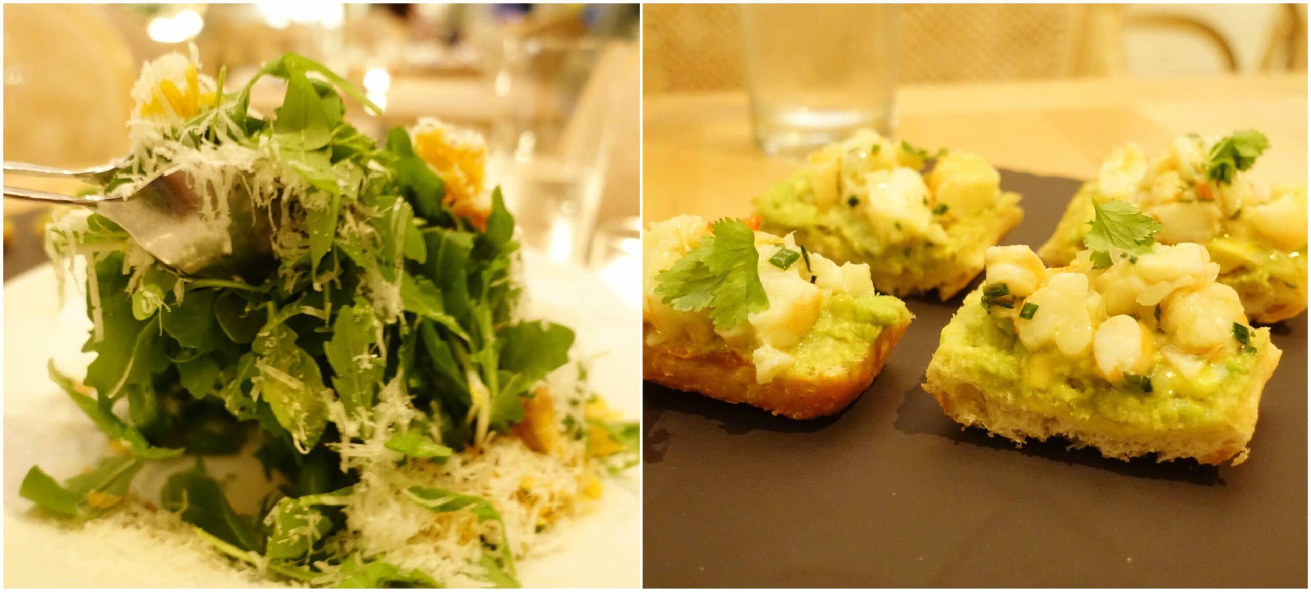 Arugula Salad, Shrimp Avocado Tartine - Ola Ocean Front Bistro, San Juan, Puerto Rico