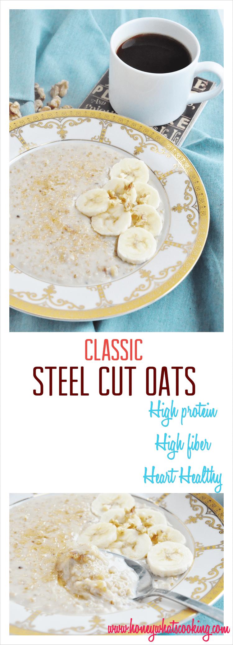 Classic Banana Walnut Steel Cut Oats pin