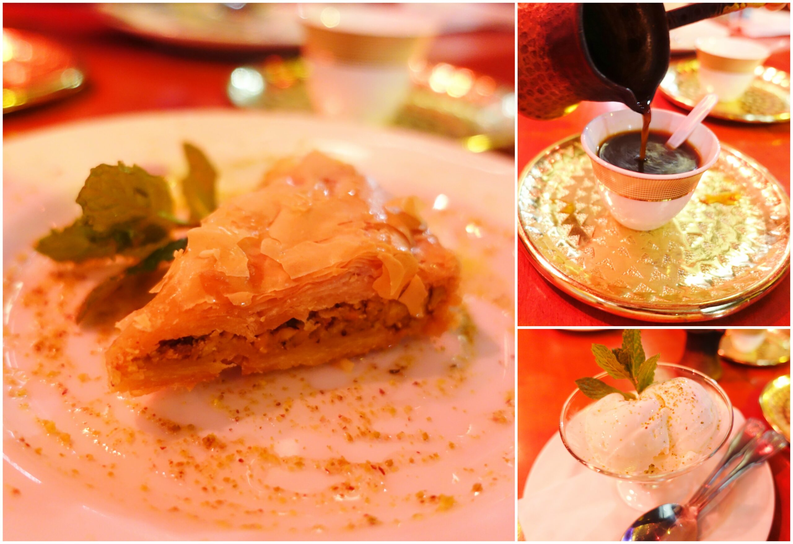 Desserts: Baklava, Turkish Coffee, Ashta Lebanese Ice-Cream - Open Sesame, Long Beach, California