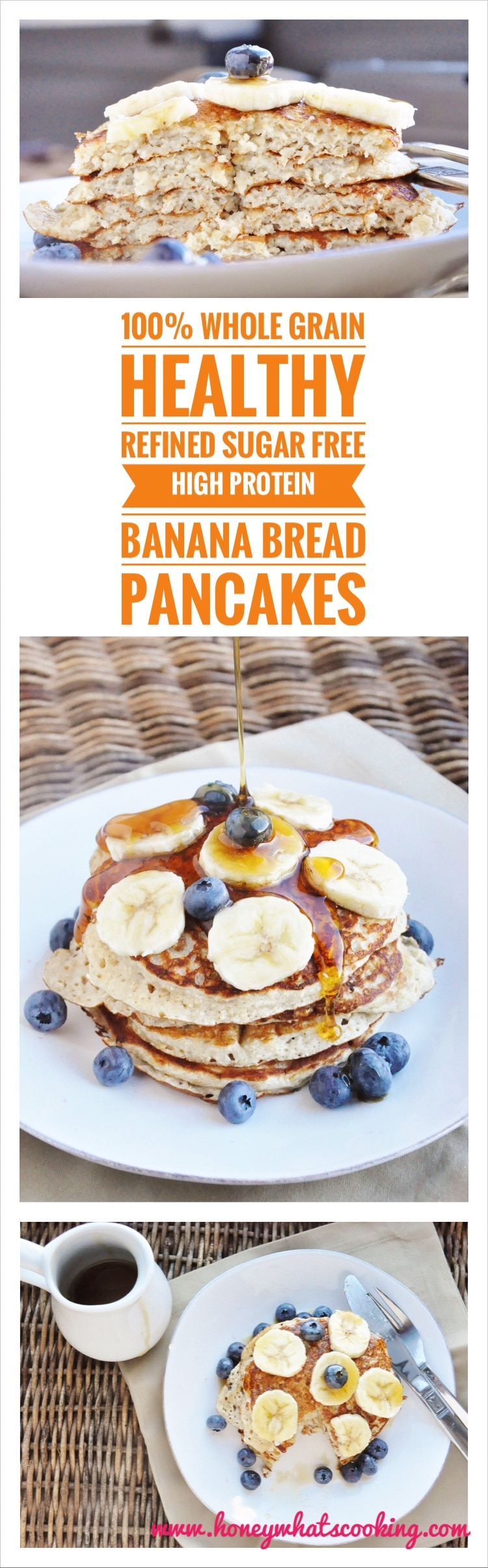High Protein Banana Bread Pancakes pin