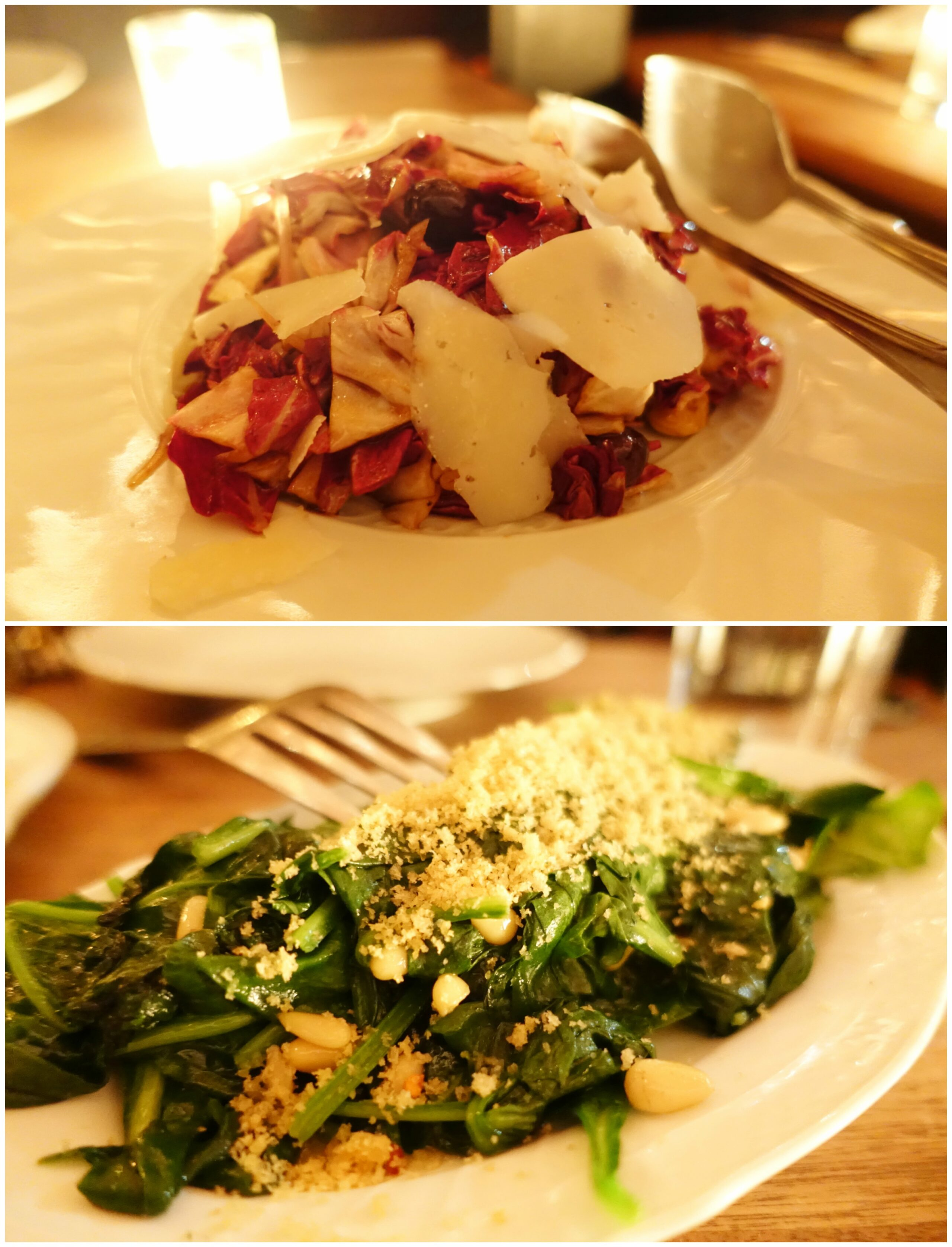 Radicchio Salad & Sauteed Spinach - The Tasting Kitchen - Venice, Los Angeles, California