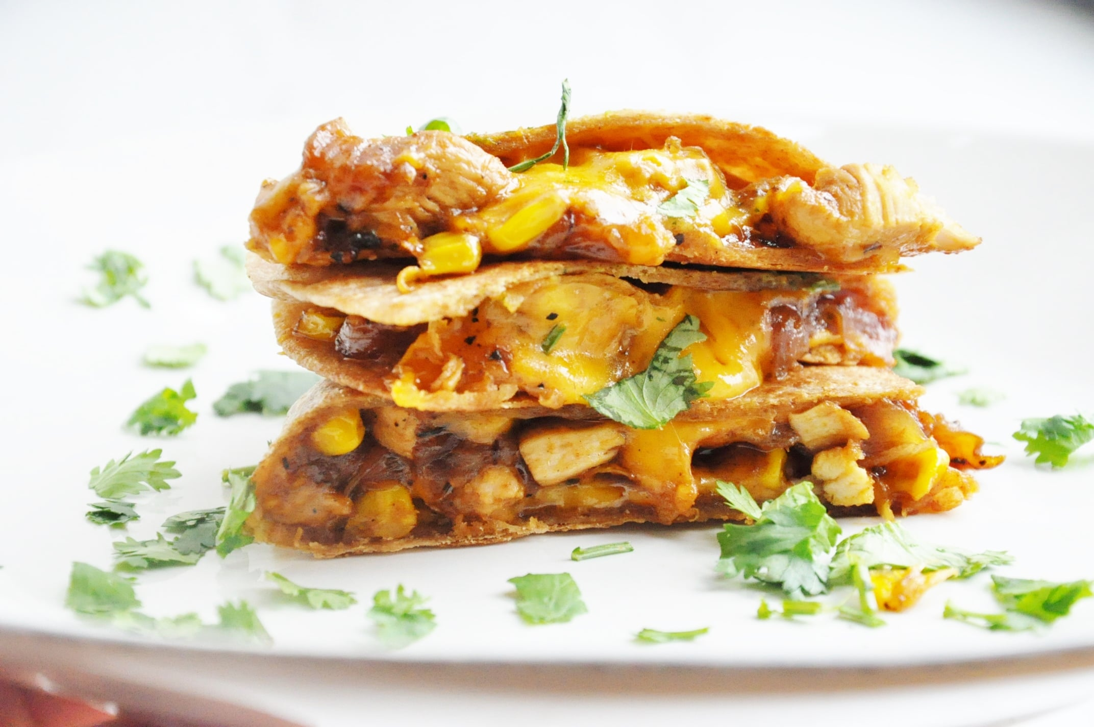BBQ Chicken Corn Quesadillas