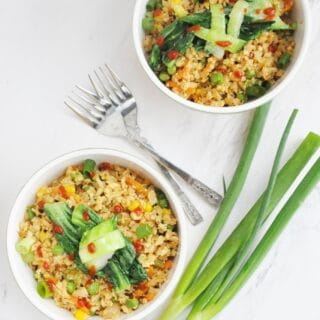 Cauliflower Fried Rice (low carb, high protein, gluten free, healthy, high fiber)