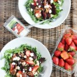 Beet Strawberry and Goat Cheese Arugula Salad (healthy, antioxidants, gluten-free, low-carb)