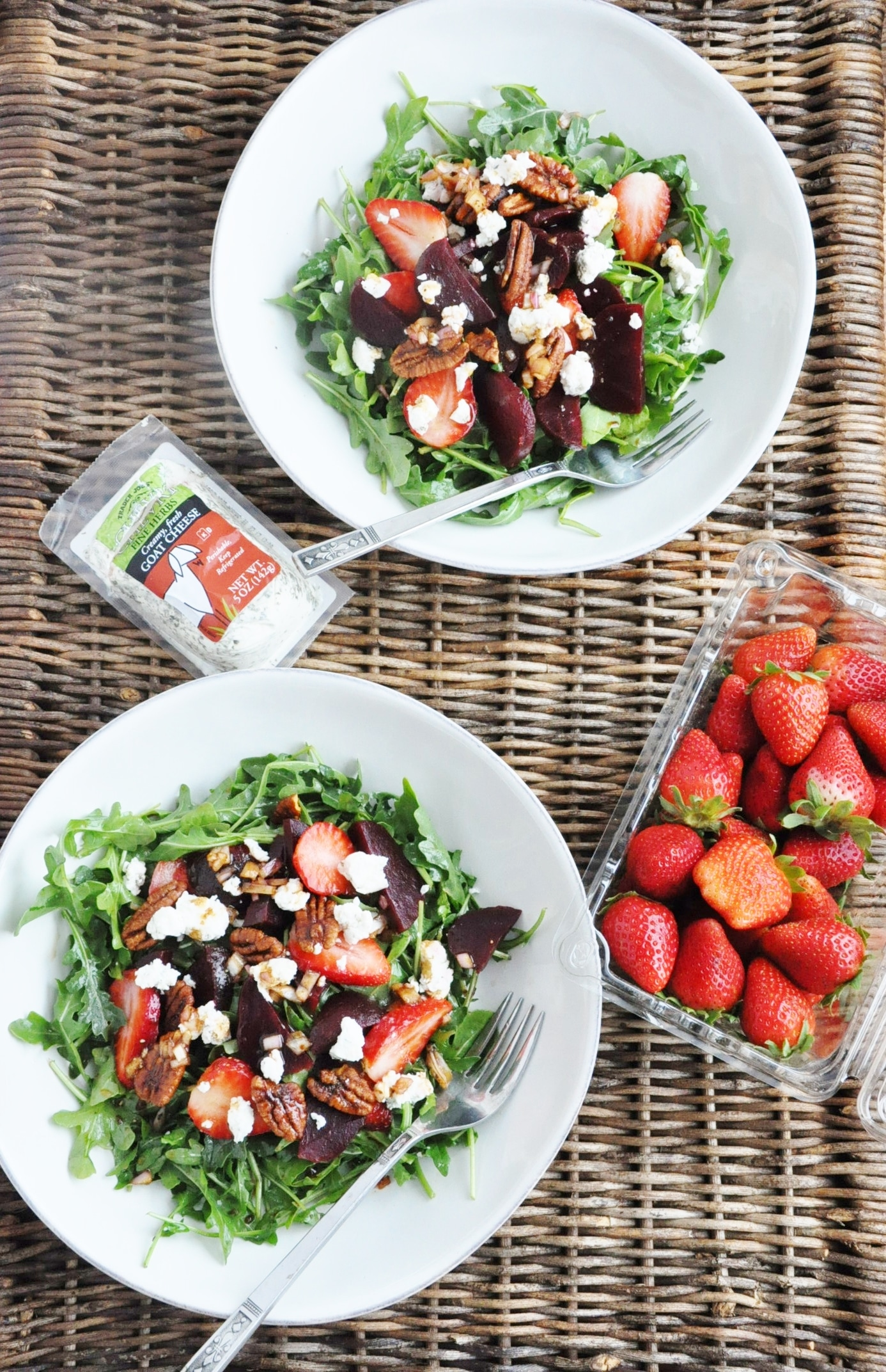 Beet Strawberry and Goat Cheese Arugula Salad