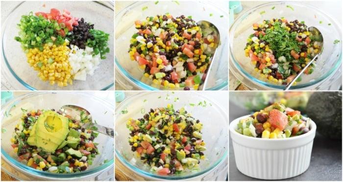 Black Bean, Corn & Avocado Salad step-by-step