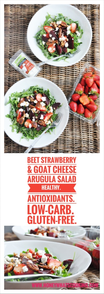 Beet Strawberry & Goat Cheese Arugula Salad pin