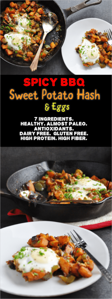 Spicy BBQ Sweet Potato Hash & Eggs pin
