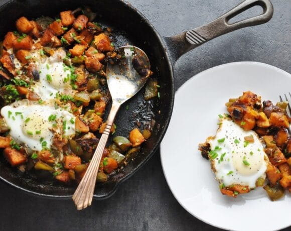 Spicy BBQ Sweet Potato Hash & Eggs
