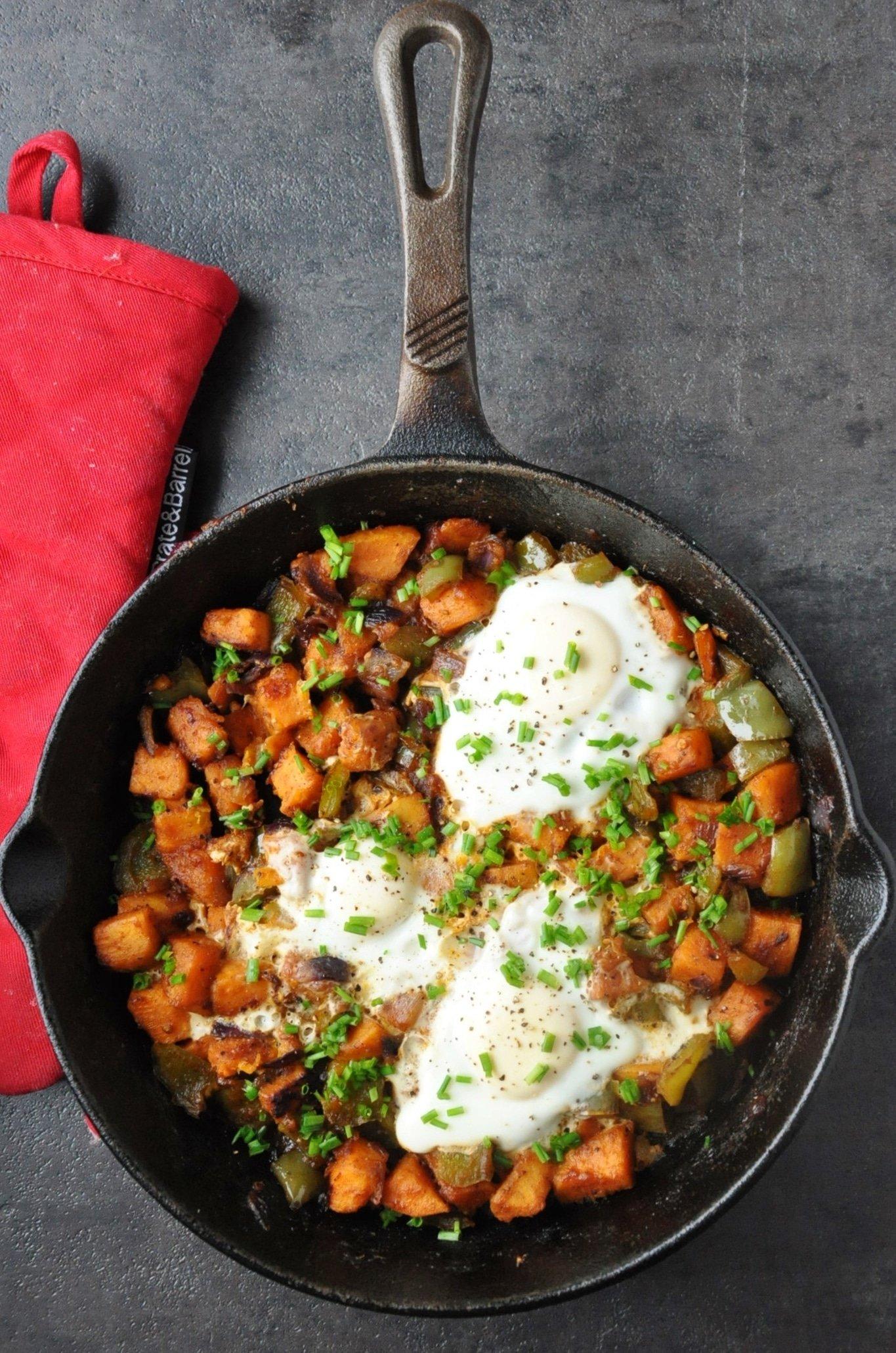 Spicy BBQ Sweet Potato Hash Eggs