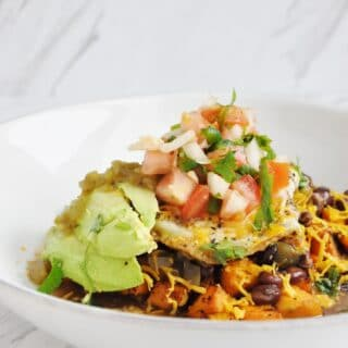 Sweet Potato Huevos Rancheros (healthy, gluten-free, high protein, high fiber)