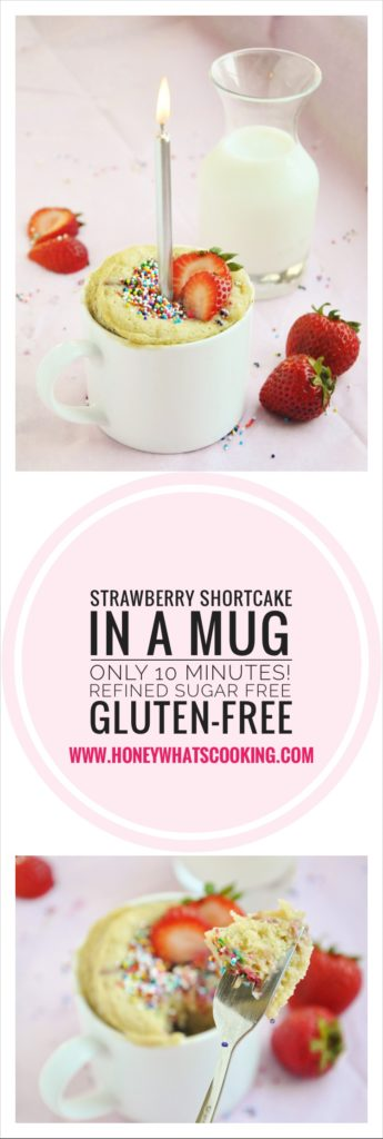 Strawberry Shortcake in a Mug - gluten-free, refined sugar free