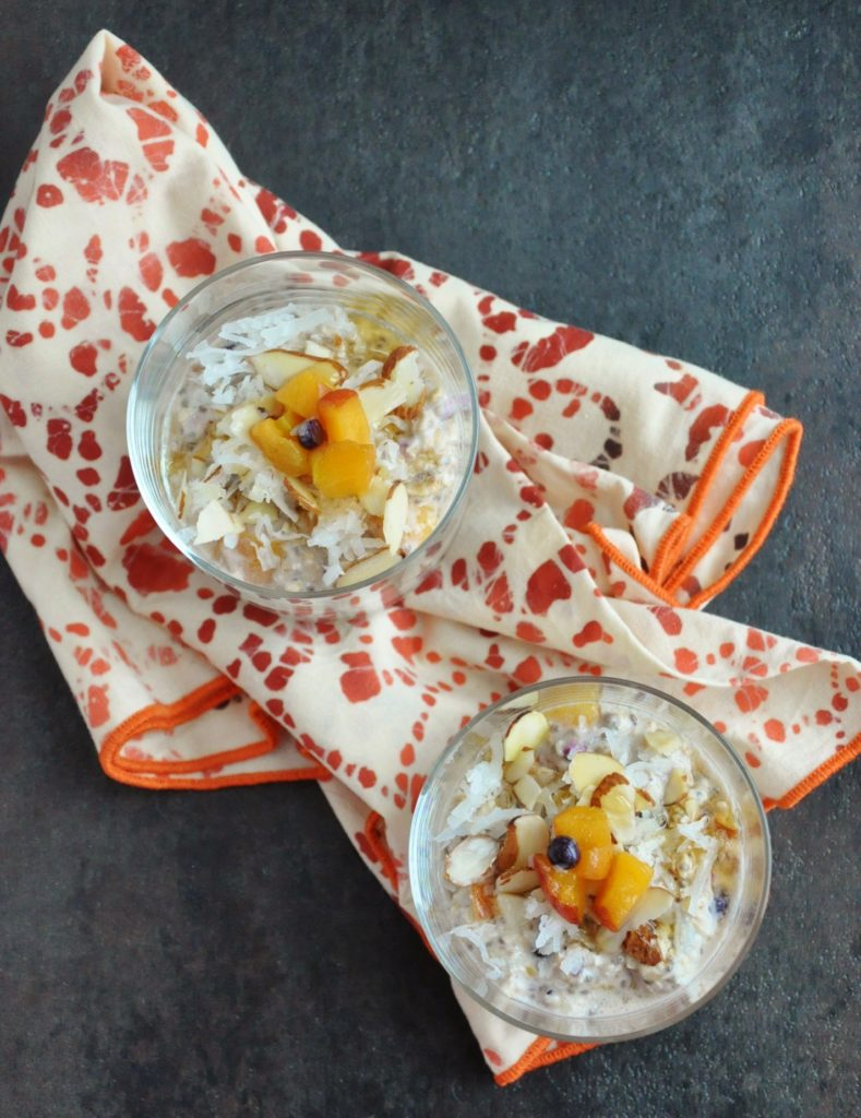 Peach Blueberry Chia Overnight Oats