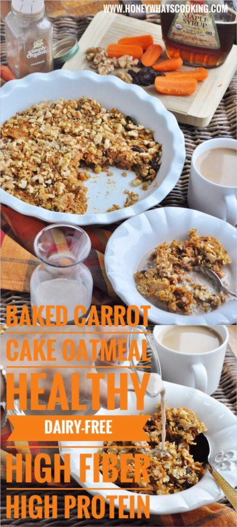 Baked Carrot Cake Oatmeal (healthy, dairy-free, gluten-free, high protein, high fiber)