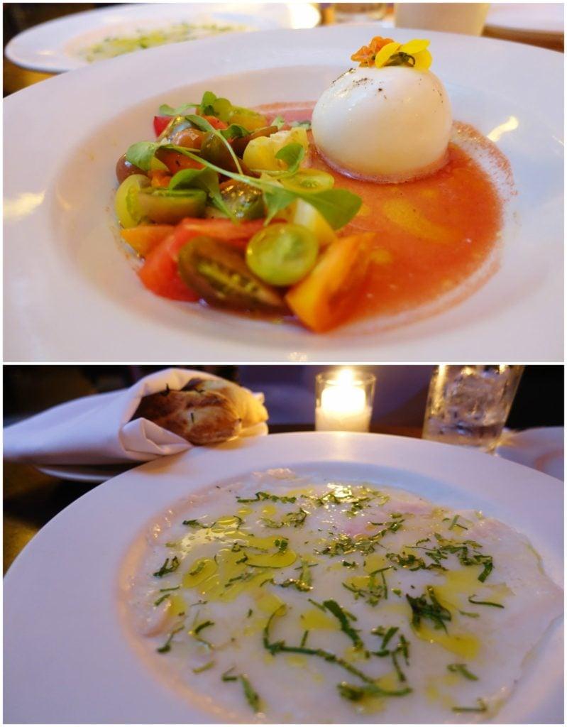 Burrata Mozzarella Tomatoes, Carpaccio Black Sea Bass - The Mercer Kitchen, NYC