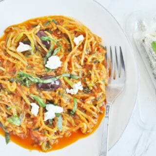 Zucchini Noodles with Olives, Marinara and Goat Cheese (gluten free, healthy, low carb)