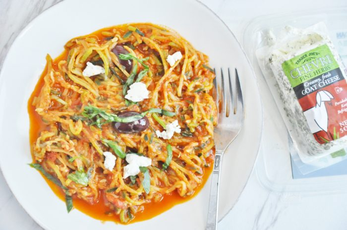 Zucchini Noodles with Olives, Marinara and Goat Cheese