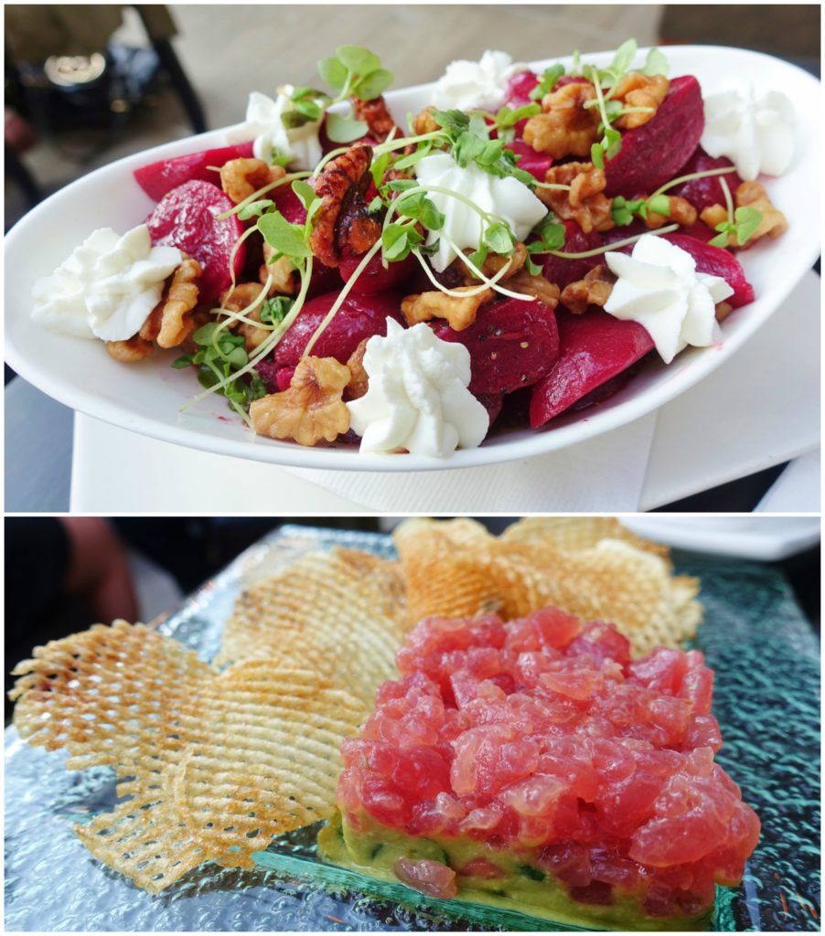 Baby Golden & Red Beet Salad, Yellowfin Tuna Tartare - Upstairs at The Kimberly Hotel
