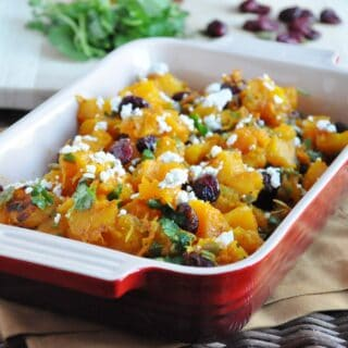 Roasted Butternut Squash with Cranberries and Goat Cheese (gluten free, antioxidants, healthy)